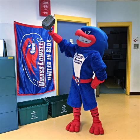 Rowdy the bird mascot recycling