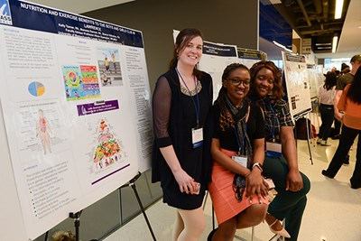 Nursing students Kelly Tanner, Sharon Nabulime and Mamawa Sannoh at the Student Research & Community Engagement Symposium