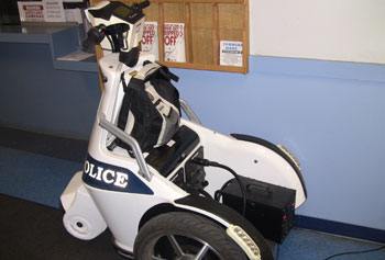 The campus police department's battery-powered T3 electric vehicles can operate for about 16 hours on a single charge.