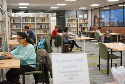 Students study in the UML Honors College on Table-for-one Tuesday