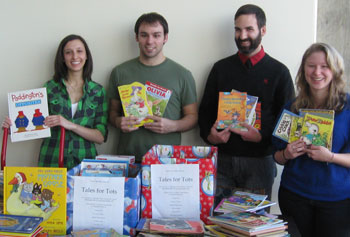 Students from Sigma Tau Delta collected several hundred books for young readers in need.