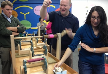 "Teachers and GSE students try out the new ""Engineer It!"" exhibit designed for students in grades 3 to 12."