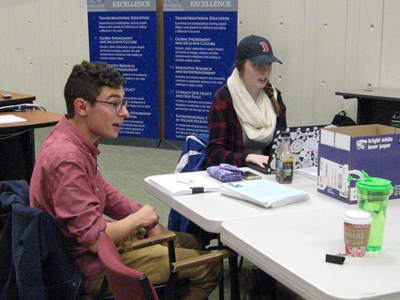 Theatre Arts students Matthew Hayes and Jillian Zuber prepare to workshop a new play,