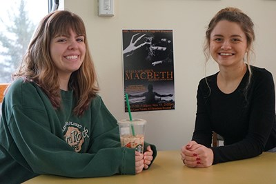 UML Theatre Arts interns Rachael Bergeron, left, who works in tech, and Hayley Jasmin, right, who does publicity for shows.