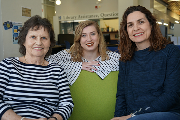 Mary Humble, left, and daughter Deirdre Hutchison, right, will soon be joined on campus by Deirdre's daughter, Georgina.