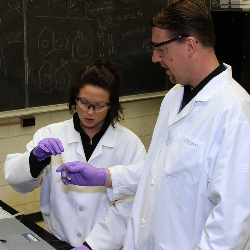 Professor Tom Wilson and student in the Biomedical and Nutritional Sciences Department