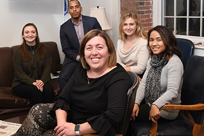 Five UMass Lowell alumni work in Congresswoman Lori Trahan's district office: Emily Byrne, Sara Khun-Leng, Vladimir Saldana, Sarah Byrne and Meaghan Gallagher