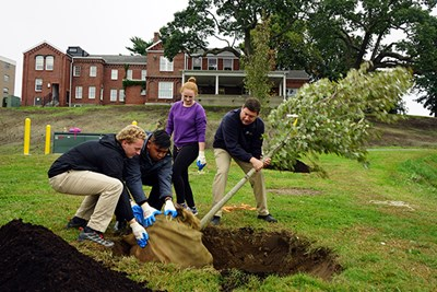 Students and staff plant a tree on South Campus