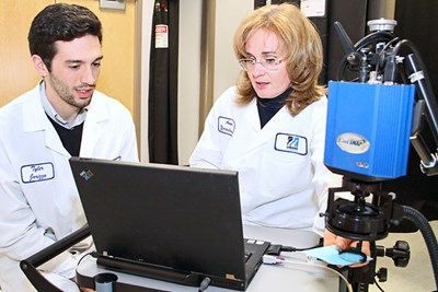 Tyler Iorizzo and Assoc. Prof. Anna Yaroslavsky in the lab