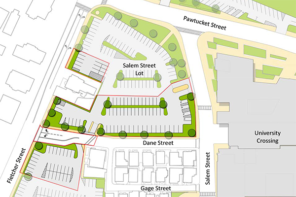 The Salem Street lot will expand to 141 parking spaces, while a new entrance will be added for faculty and staff coming from Fletcher Street.