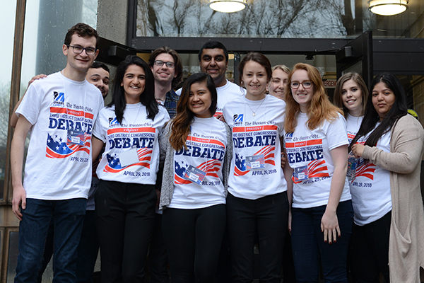 Students welcomed the public to Durgin Hall for the Massachusetts 3rd Congressional District debates.