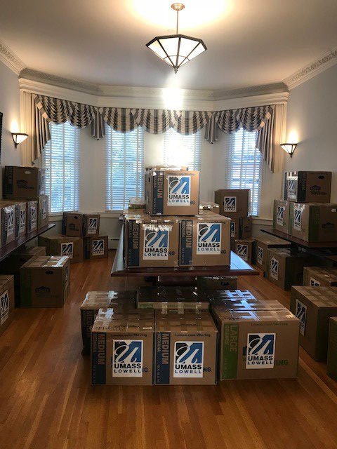 UML Donations for Puerto Rico: Picture of 50 boxes collected by the UMass Lowell Community to support Puerto Rico after Hurricane Maria