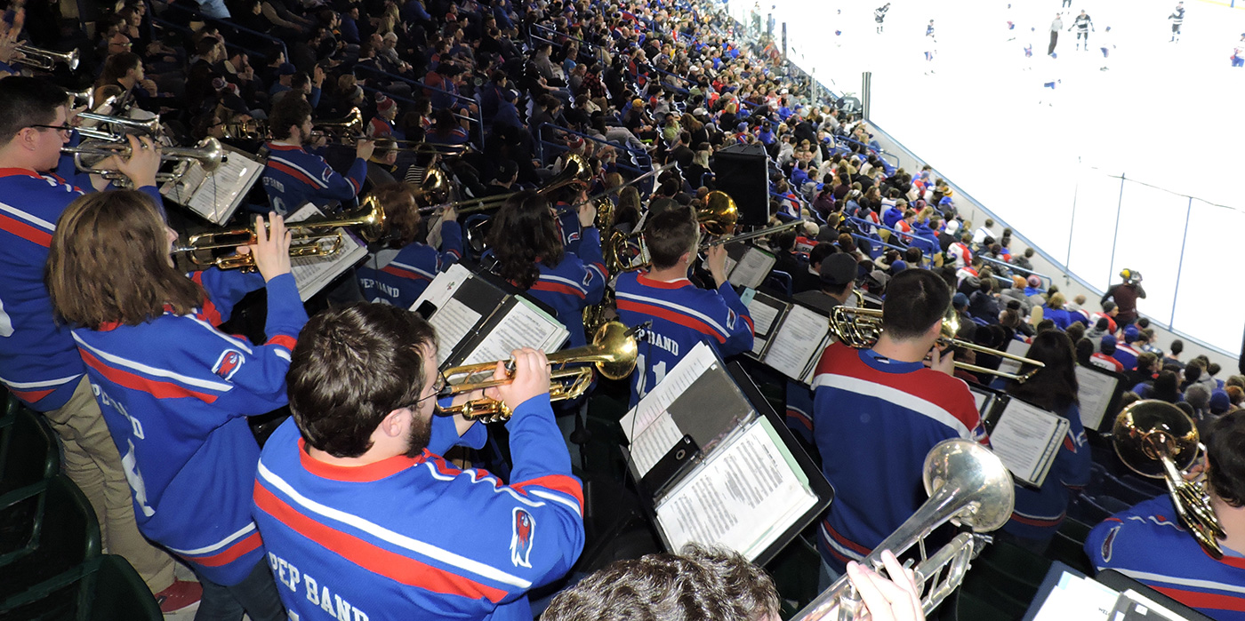 The UMass Lowell Pep Band, also known as the Jazz Rock Big Band, is under the direction of Dan Lutz, and Deb Huber. Established in 1995, the ensemble maintains a demanding schedule, performing at local festivals, state finals, and championships within the United States. The band also serves the University as a source of entertainment, performing at Division I hockey games and other campus events.