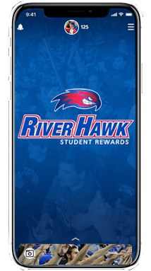 Cell phone with RiverHawk student rewards app on screen