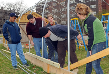 Will Deady, second from left, works with a crew of fellow students every weekend to build a community garden and greenhouse at UMass Lowell.