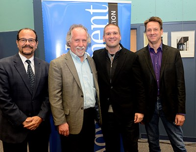 adam ayan (second from right) returned to UMass Lowell to discuss his experiences as a mastering engineer