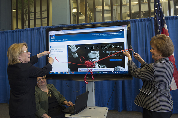U.S. Rep. Niki Tsongas, left, and Chancellor Jacquie Moloney cut the ribbon on the Paul E. Tsongas Congressional Collection at O'Leary Learning Commons.