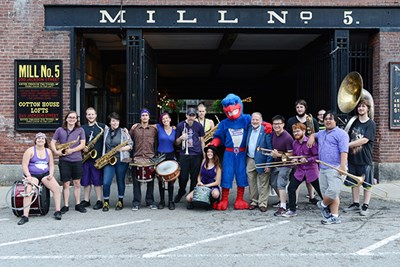 The Party Band joined news students at the third annual welcome back event at Mill No. 5.