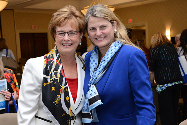 Chancellor Jacquie Moloney with alumna Bonnie Comley, who gave the keynote speech at the Women's Leadership Conference.