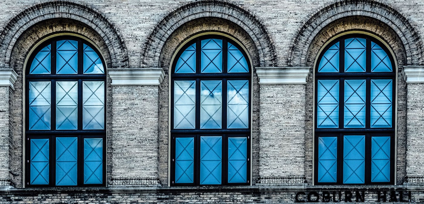 Arched windows of Coburn Hall