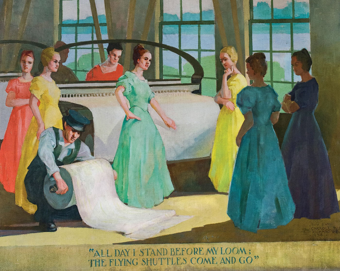 Mural of mill girls in UMass Lowell's Coburn Hall