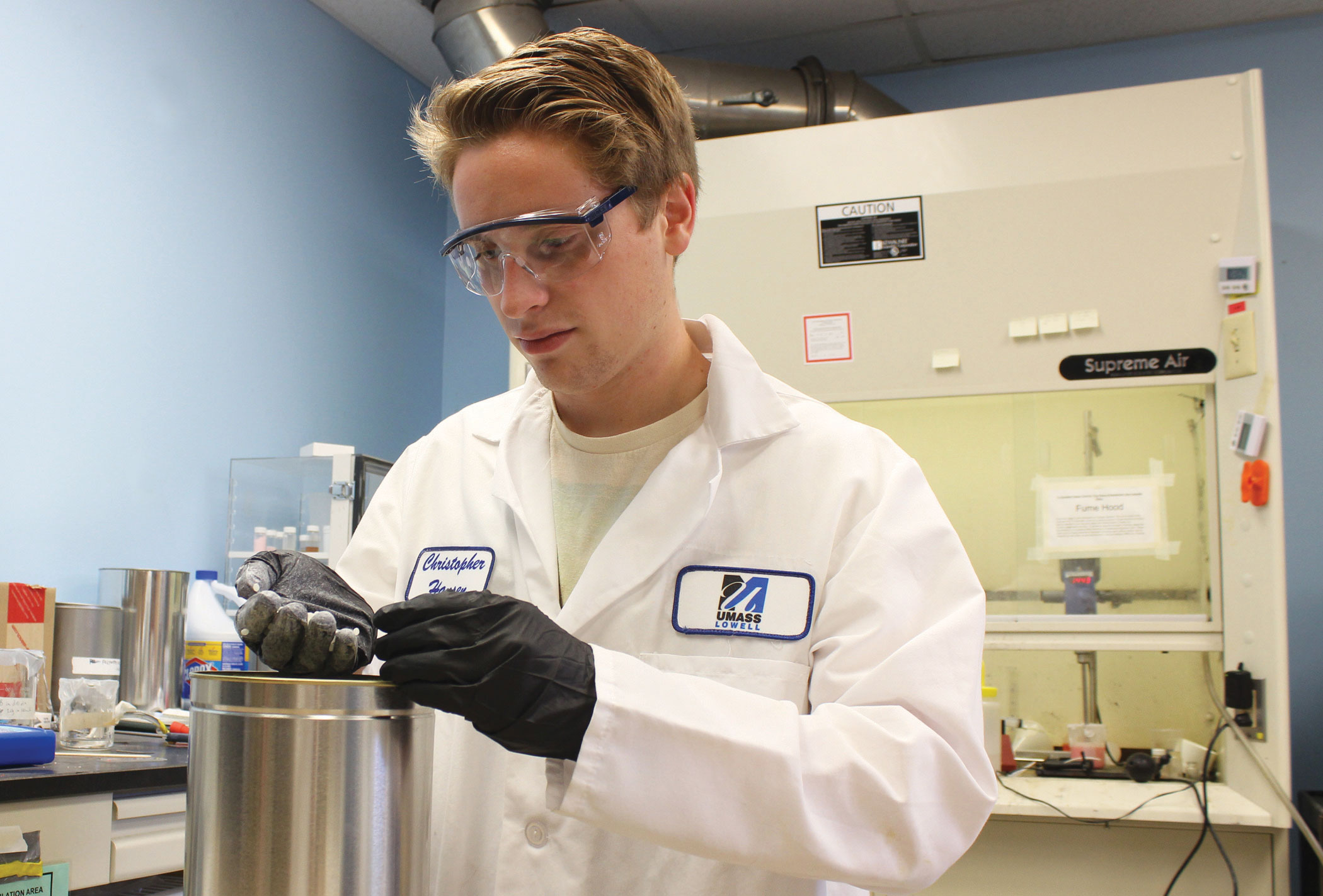 UMass Lowell Co-op Scholar Colin Senechal in the plastics engineering lab