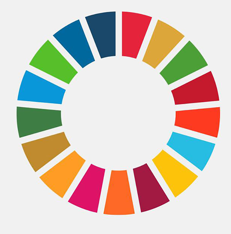 The United Nation's Sustainable Development Goals Circular Logo. As defined by the United Nations, the 17 Sustainable Development Goals are an urgent call for action by all countries, developed and developing, in a global partnership against poverty, hunger, and other urgent worldwide issues.