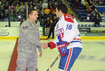 Veterans Week included Military Appreciation Night at the Tsongas Arena, as U.S. Air Force Staff Sgt. Sean Germain, recently returned from Afghanistan, met Riley Wetmore, team captain of the River Hawks, before the ceremonial puck drop.