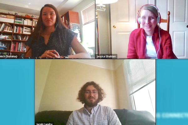 Plastics engineering alum Alisha Welch, top left, and Intralox colleague Jessica Shahien, top right, tell plastics engineering major Jacob Landry about the New Orleans-based company during the virtual career fair.