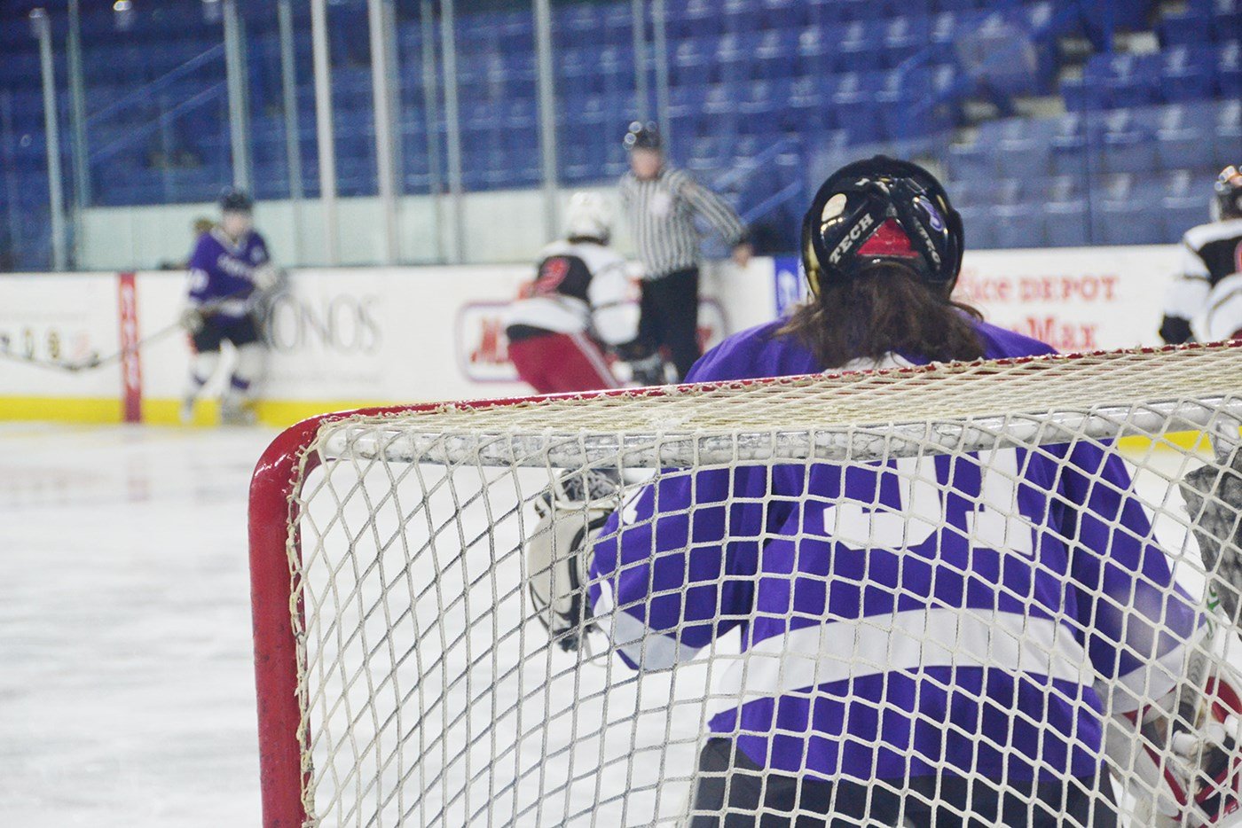 Women's Ice Hockey game goalie shot