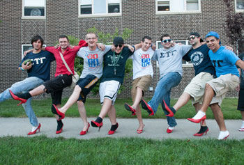 Students spread awareness and prevention of sexual violence in the annual Walk a Mile in Her Shoes event. Photo by Ed Collier.