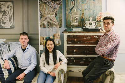 Mai Pham, Brian Regan and Joshua Bedard at Wayfair office