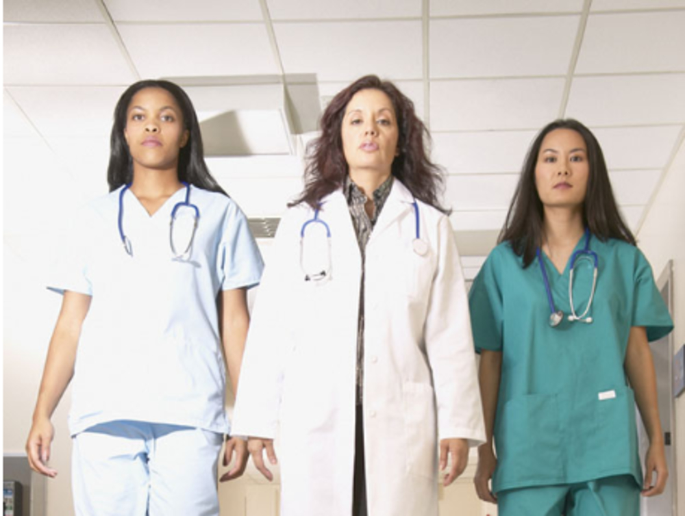 A half image of 3 culturally diverse women healthcare professionals