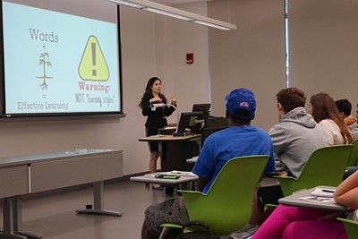 Asst. Prof. of Psychology Yana Weinstein teaches the six highly effective study strategies in every class.
