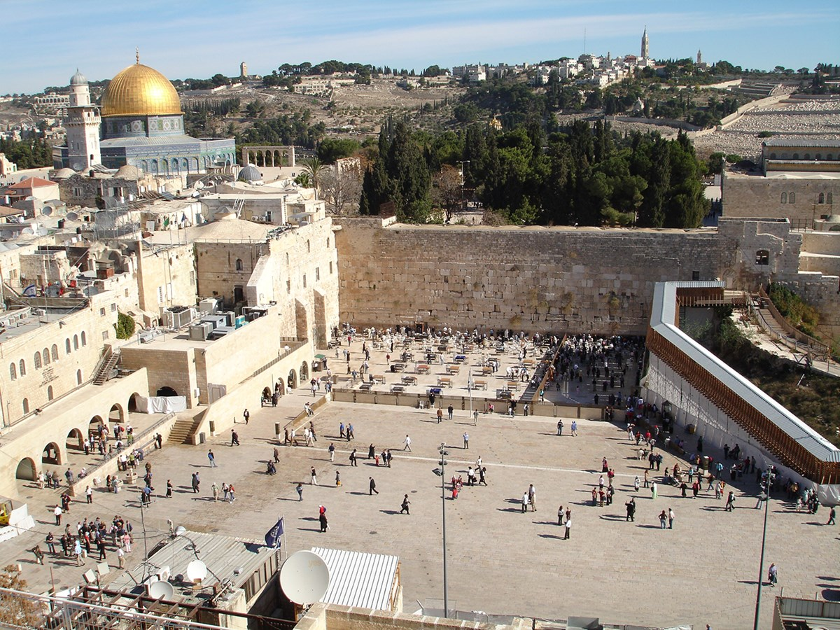The Western Wall, also known as the Wailing Wall and in Hebrew as the Kotel in Jerusalem, Israel.