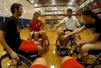 Physical Therapy students played wheelchair basketball against the New England Blazers.