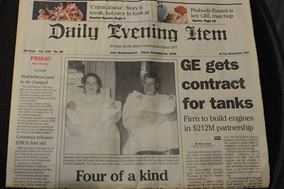 The Lynn, Mass., newspaper ran a front-page photo after the Whitcomb quadruplets were born