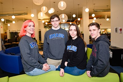 Three of the Whitcomb quadruplets are first-year students at UMass Lowell, while Bryce is studying at North Shore Community College