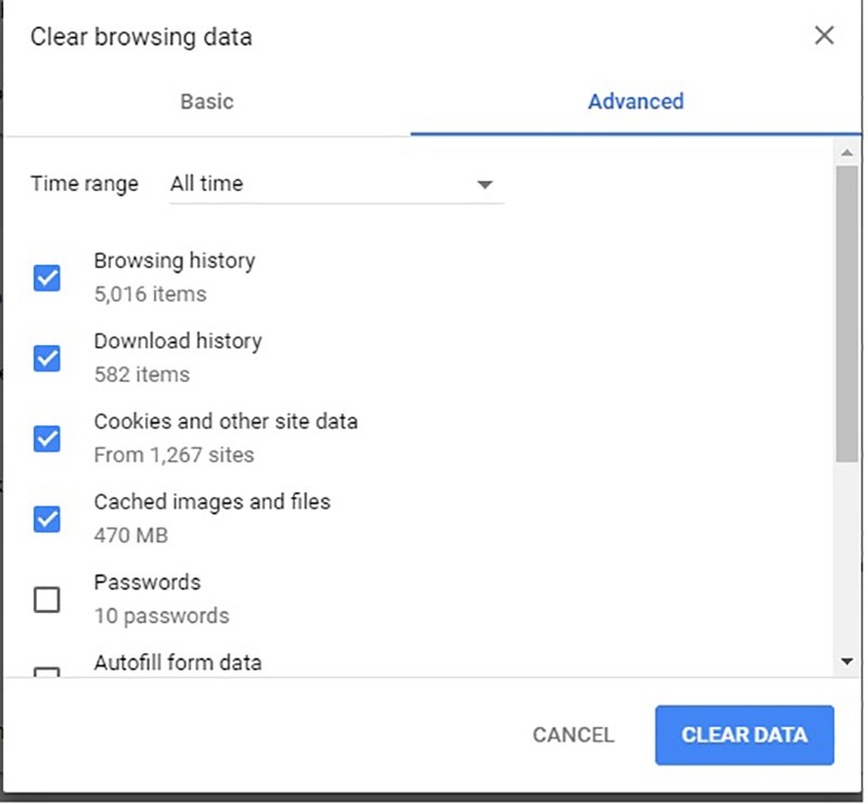 In the Advanced tab, at the top set the Time Range to All time and also make sure to check off the boxes for Browsing history, Download history, Cookies and other site data, and Cached images and files
