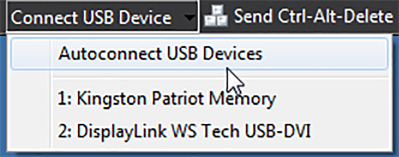Clicking the Connect USB Device will show a drop down menu, select the USB device you want to connect from the list or select Autoconnect USB Devices to connect all the USB devices available