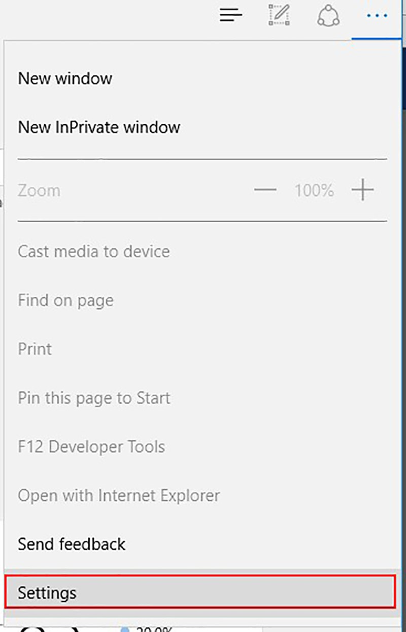 Click on the menu button in the upper right corner of the Edge window and select Settings from the bottom of the menu