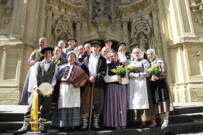 Honors students in traditional costume in San Sebastian, Spain