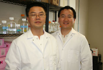Asst. Prof. Seongkyu Yoon, right, with Asst. Prof. Jin Xu at the Massachusetts BioManufacturing Center at UMass Lowell.