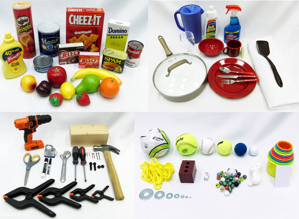 YCB Objects including household items, dishes, tools, balls