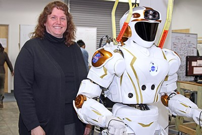 Prof. Holly Yanco with Valkyrie robot