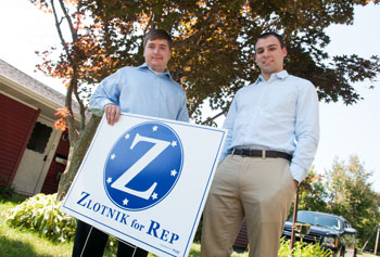 May 2012 graduate Jon Zlotnik, left, is running for a seat in the state Legislature and his former roommate, Brad Helgin, right, is his campaign manager.  Photo by Ed Collier