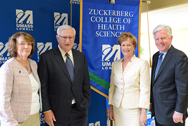 UMass Lowell unveiled the Zuckerberg College of Health Sciences on May 18, 2017. Shown at the event are, from left, Dean Shortie McKinney, Roy J. Zuckerberg, UMass Lowell Chancellor Jacquie Moloney and UMass President Marty Meehan.
