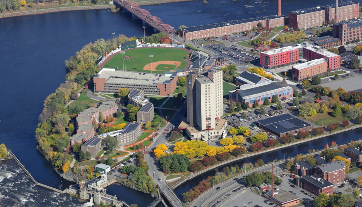 Aerial view of East Campus at UMass Lowell