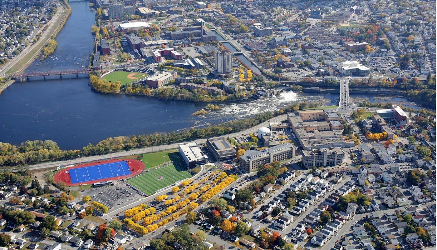 Aerial photo of UMass Lowell's North Campus