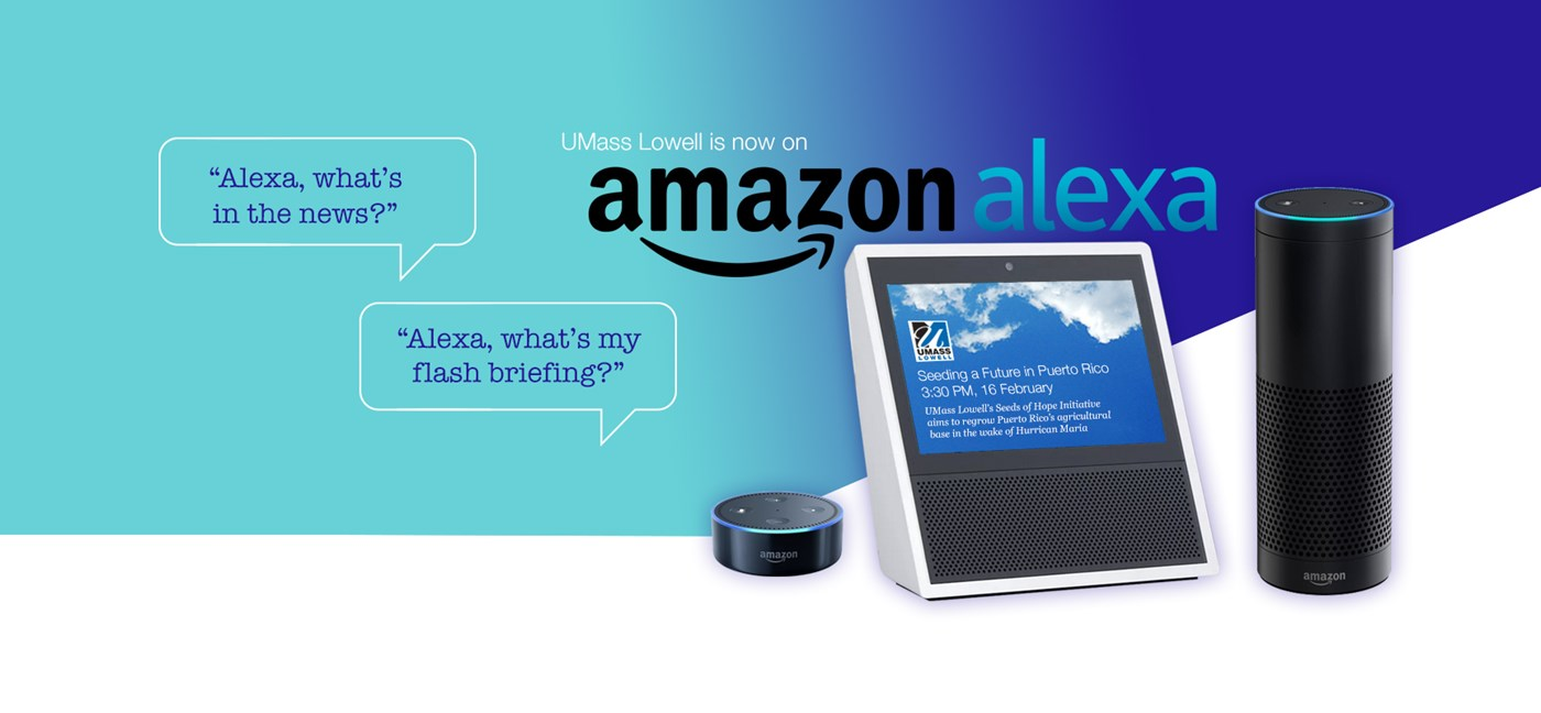"Amazon Echo, Echo Dot and Echo Show are shown with the thought bubbles ""Alexa, what's my flash briefing?"" and ""Alexa, what's in the news?"""